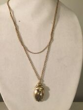 $ 49 Lucky Brand Goldtone Scarab Bug Long Chain 2 Row Pendant Necklace #305 (3)