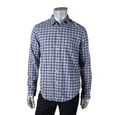 Lacoste 9078 Mens Blue Poplin Plaid Button-Down Shirt Shirt L 42 BHFO