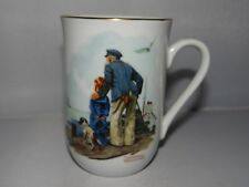 Norman Rockwell Museum Looking Out To Sea 8oz. Coffee Tea 1985 Mug Cup Gold Rim