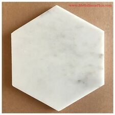 Carrera White Marble Honed Hexagon Tiles, 6""