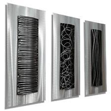 Set of 3 - Silver & Black Modern Metal Wall Art Sculpture Accent by Jon Allen