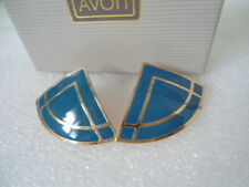 US AVON Vintage Blue Enamel Fan Style Elegant Bold Earrings Jewelry Collection