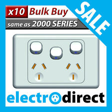 Double Power Point with Extra Switch Electrical 2000 Series Style - Bulk Buy x10