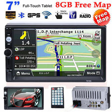 "7"" HD Double 2 Din Car MP5 Player Bluetooth Touch Screen Head Units GPS+Map"