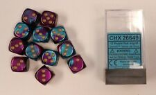 Chessex Dice d6 Sets Gemini Purple & Teal/ Gold 16mm Six Sided Die 12 CHX 26649