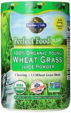 Garden of Life Perfect Food® RAW - 100% Organic Young Wheat Grass Juice Powder,