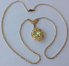 VINTAGE ART DECO 12K ON STERLING SILVER CITRINE STONE FILIGREE NECKLACE STUNNING