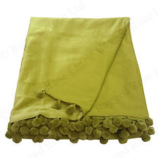 Ragged Rose Velvet Throw with Pom Pom Trims