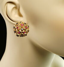 Blue Sapphire Pink/Red Ruby 14K Yellow Gold Domed Floral Cluster Retro Earrings