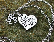 NECKLACE My Dog Rescued Me Heart Pet Rescue Lover Puppy Love BENEFITS RESCUE USA