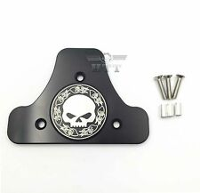 Skull CNC Sissy Bar Pad Mount Kit For 97-17 Harley Road King Street Glide Black