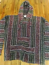 MENS COOL BAJA SURFER MEXICAN WOVEN HOODIE PONCHO MULTI COLOR SIZE XL