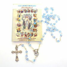 Glass faceted iridescent blue rosary beads holy mysteries rosary booklet gift