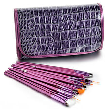 Glow Professional 25 piece Nail Art Brushes and Dotting Tools Set Purple