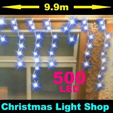 500 BLUE LED Flashing ICICLES 10m Hanging Gutter Outdoor Christmas Lights Tree