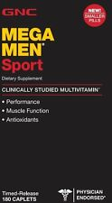 GNC Men's Mega Men Sport Multivitamin, Timed Release 180 Caplets NEW!