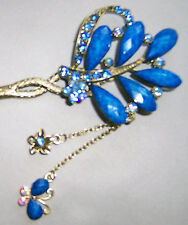 Rhinestone Hair Stick Antique Style Dangle Hairpin 6 Petal Flower Chignon Pin