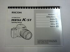 PENTAX K-S1 PRINTED INSTRUCTION MANUAL USER GUIDE 122 PAGES A5