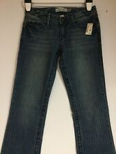 NWT AEROPOSTALE MEDIUM WASH CHELSEA PIN STRIPE JEANS BOOT CUT SIZE 3/4 LONG