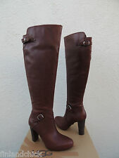 UGG TALL ADYSON BROWN LEATHER HIGH HEEL BUCKLE BOOTS, US 7/ EUR 38 ~NIB