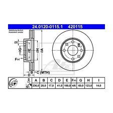 Ate 2 St. 420115 discos de freno 24.0120-0115.1 Opel/daewo