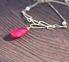 Natural Ruby Red Chalcedony Briolette Necklace in 14K Yellow Gold Vermeil Pearl