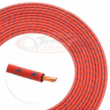 VINTAGE HOT ROD CLOTH COVERED WIRE 14 GA. RED & 2 BLUE 16 FT. ROLL USA #17634