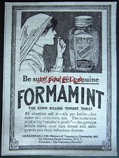 1920 'FORMAMINT' Germ-Killing Throat Tablets ADVERT - Small Chemist Print Ad