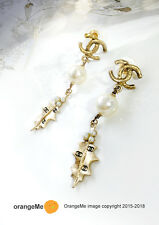 CHANEL Limited Edition Collectible Xmas CC Gold Holly Leaf Pearl Drop Earrings