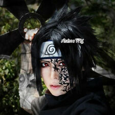 For Uchiha Sasuke Black 35CM Short Layered Men Anime Cosplay Wig + Wig Cap