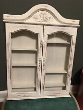 Ivory Curio Cabinet Glass Door Shabby and Chic, Cottage Chic Wall Decor
