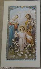 Image pieuse avec prière à la Sainte Famille 11,5 cm x 6,5 cm