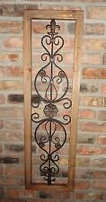 Wood Frame Metal Wall Decor Fleur De Lis Oak Color Wood Decor Shabby Cottage