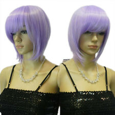 Elegant Lady's Short Medium Length Straight Purple Lavender Full Bangs Wig