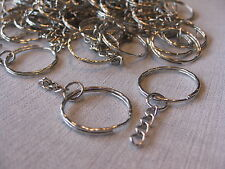 WHOLESALE Lot of 20 Split Ring Key Chains with Chain Jewelry Findings