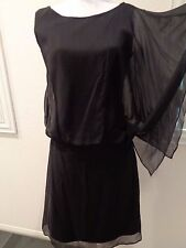 BCBG Paris Black 100% silk sheer 1 sleeve Sleeveless Dress SZ 4-NWOT