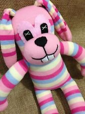 GIANT Sock Rabbit - Sock Animal - Bunny - Pink Stripey Cuddly