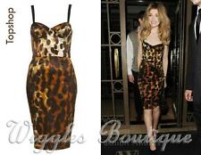 Topshop Smudge Animal Leopard Print Bodycon Midi Pencil Dress - UK12/EU40/US8