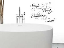 SOAP TO BODY LAUGHTER TO SOUL Words Bath Vinyl Decal Bathroom Wall Lettering