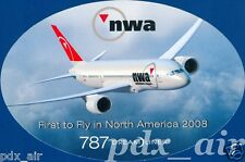 NWA NORTHWEST AIRLINE BOEING 787 DREAM LINER OVAL STICKER