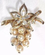 CROWN TRIFARI PHILIPPE 1951 PAT PEND Faux Pearl Grape Cluster Rhinestone Brooch