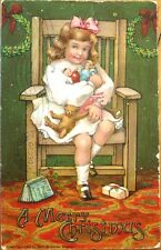 Teddy Bear & Dolls in Little Girl's Lap - 1907 Christmas Postcard - Color Litho