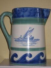 "Villeroy & Boch BLUE WAVES PITCHER Large 68 OZ. 8-1/2"" Portugal Mint"