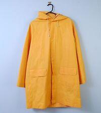Vintage Rain Mac In Dark Yellow Waterproof Hooded Overcoat Fisherman XL X-Large