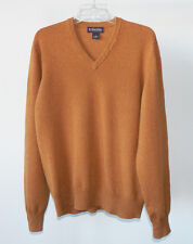BROOKS BROTHERS 3-PLY ITALIAN CASHMERE Desert Brown V-Neck Sweater - M