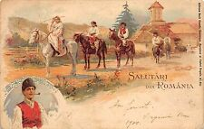 B11570 Romania Litho Port Popular 1900 types folklore costumes riding horse