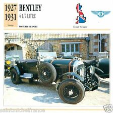 BENTLEY 4 1/2 LITRE 1927-31 CAR VOITURE Great Britain GRANDE BRETAGNE CARD FICHE