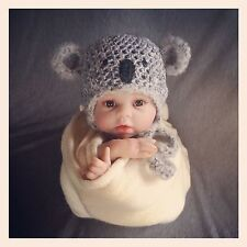 Cutie koala hat. great baby shower gift. Photography Photo prop. Newborn.