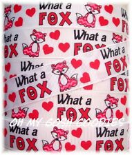 7/8 WHAT A FOX VALENTINE PINK RED CHEVRON GROSGRAIN RIBBON DOES SAY 4 HAIRBOW