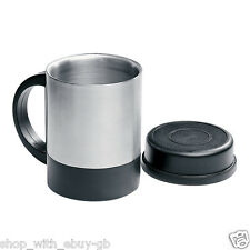 INSULATED 360ML STAINLESS STEEL MUG / TRAVEL CAMPING COFFEE & TEA CUP WITH LID